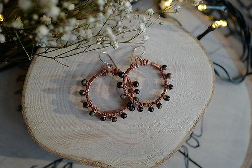 Boucles d'oreilles obsidienne