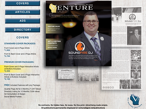Front Cover and 2-Page Interactive Article (3 Buttons Included)