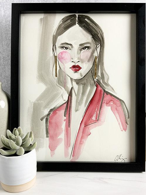 Ruby - Original Watercolor & Ink Portrait