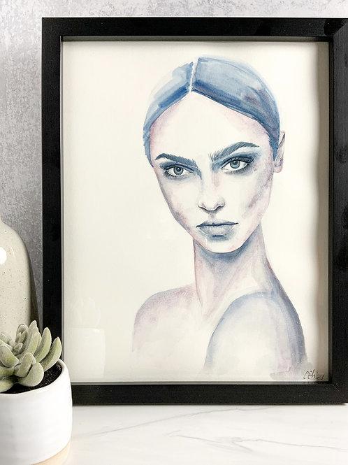 Woman in Blue - Original Watercolor Portrait
