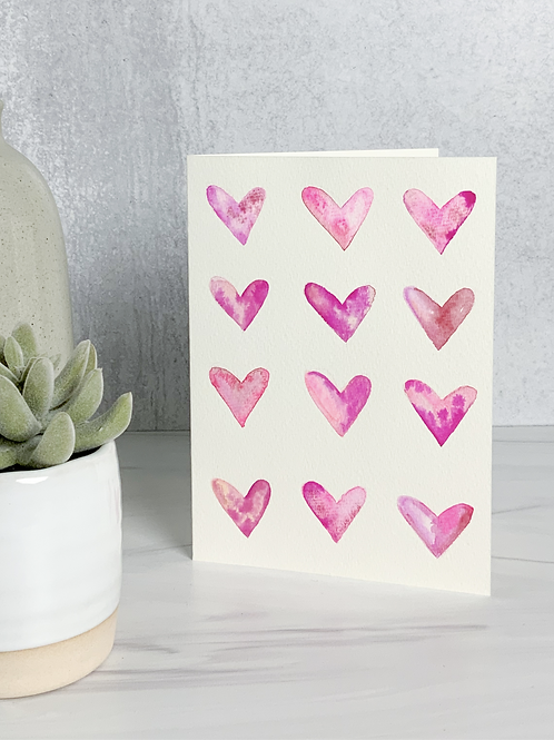 Painted Hearts Valentine's Day Card