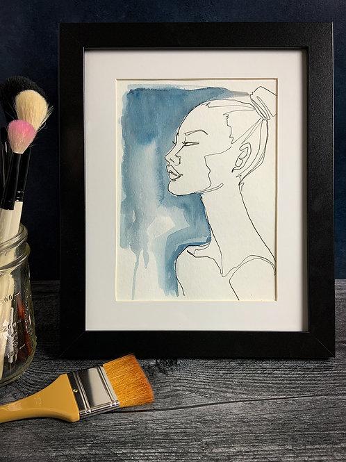 Inky Girl - Original Watercolor