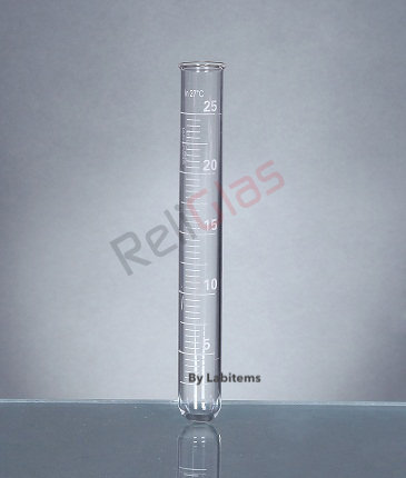Test Tubes, Boro 33exp. glass, Round bottom, with rim, Graduat
