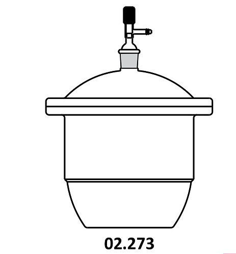 Desiccators, Vacuum with tubular Lid, Ground Flanges, and stopcock, Neutral glass, supplied with perforated porcelain plate