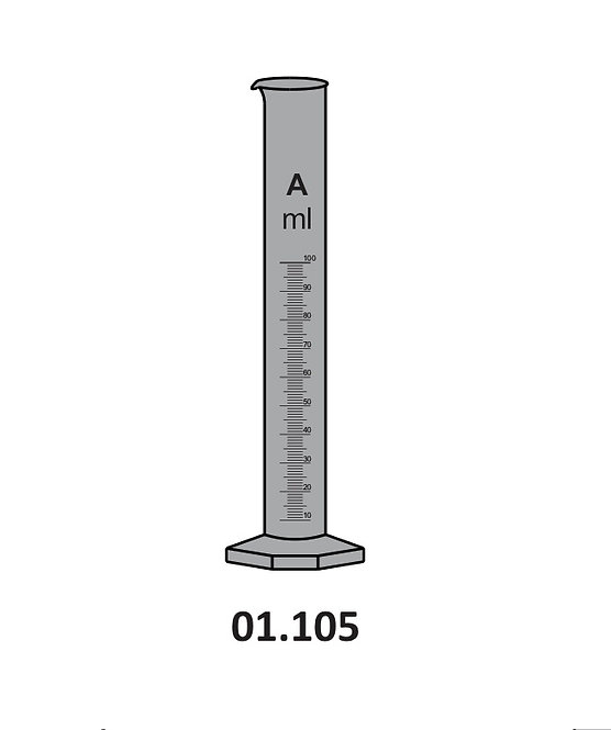 01.105 Measuring Cylinders, AMBER, with spout, Hexagonal Base