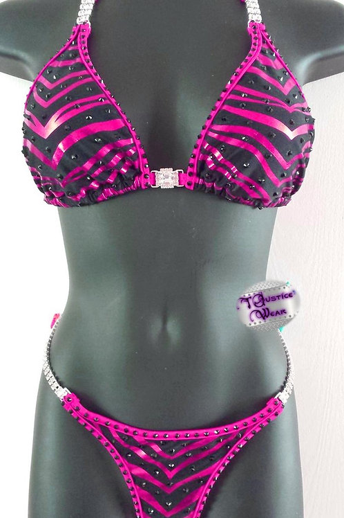 Zebra Pink Bikini Competition Suit in Satin Frost