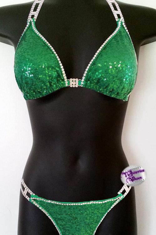 Marvelen Green Bikini Competition Suit in Sequin
