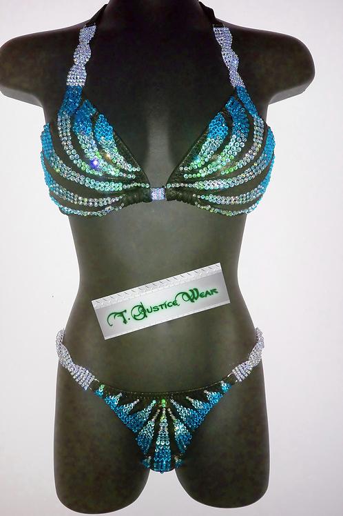 Competition Figure / Physique Suit Ocean Blue