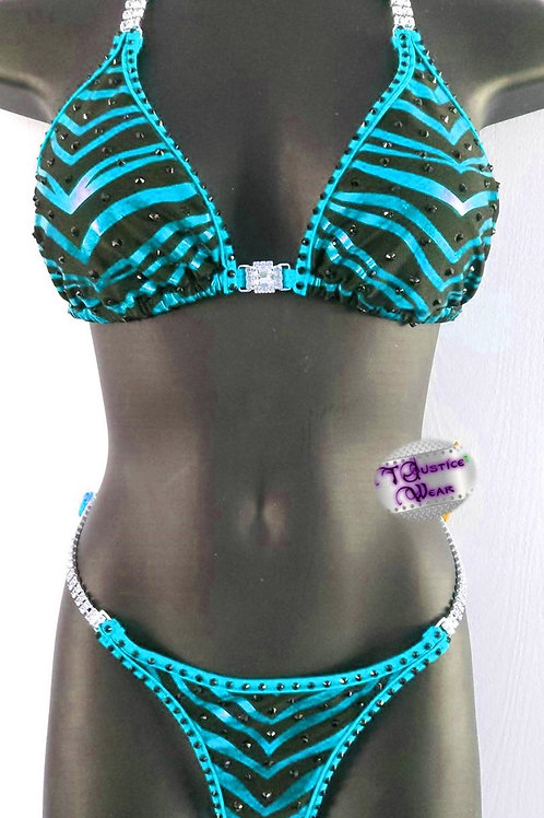 Zebra Blue Bikini Competition Suit in Satin Frost