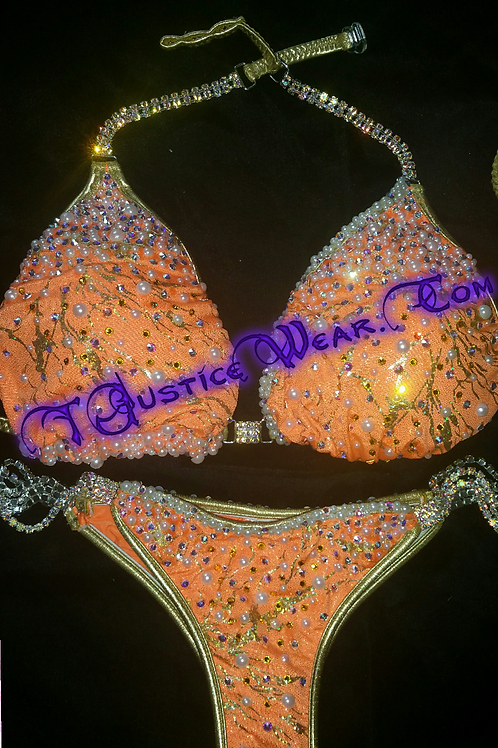 Sherbet Orange Bikini Competition Posing Suit