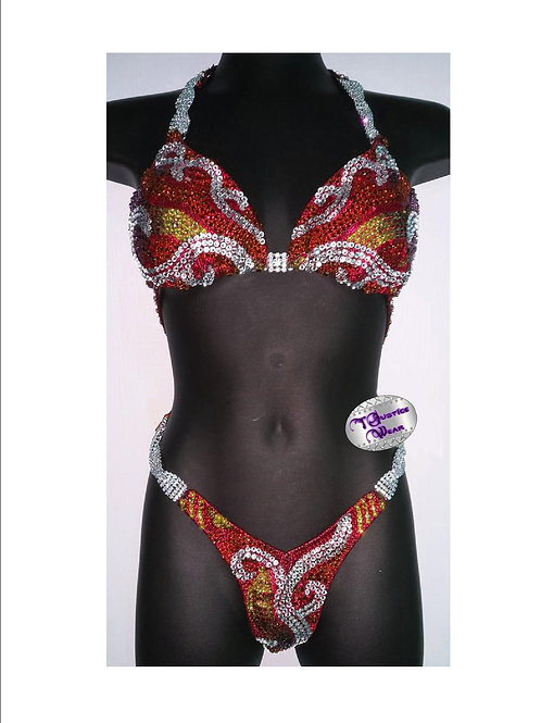 Competition Figure / Physique Suit Red Swan