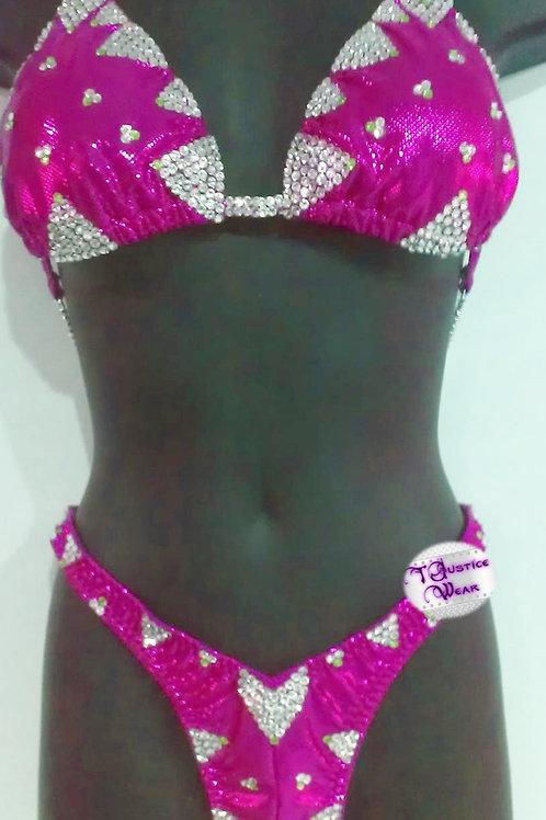 Competition Figure / Physique Suit Flicker Pink