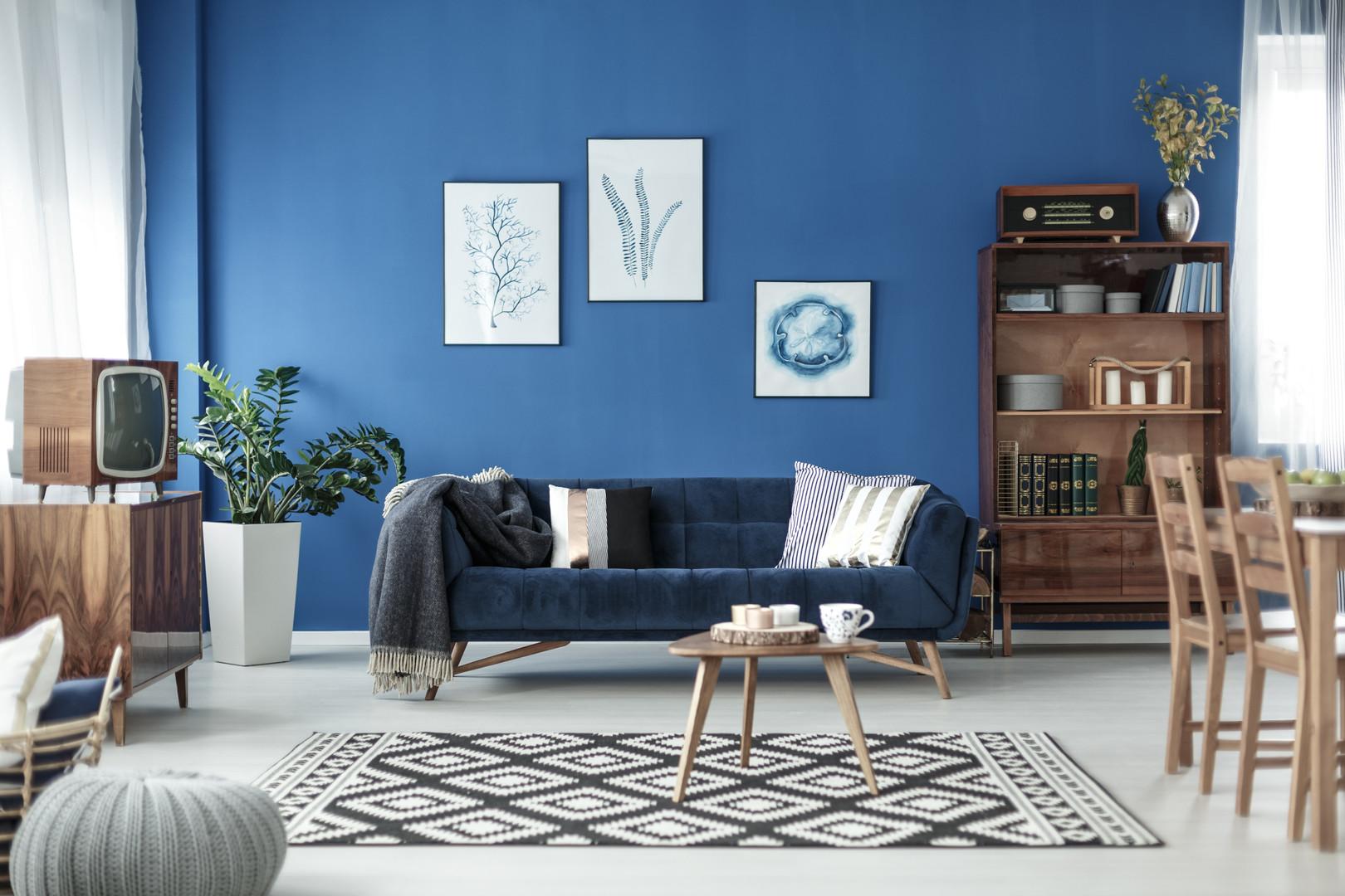 Blue Retro Style Living Room