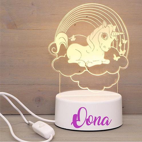 Ledlamp Unicorn regenboog met naam