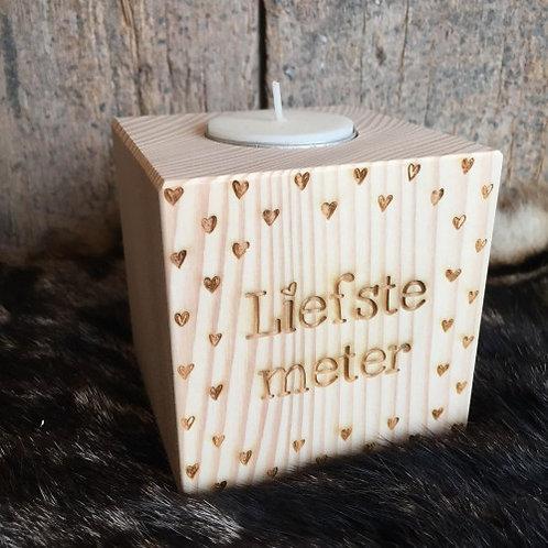 """Houten theelicht """"Liefste meter"""" of 'Liefste mama'"""