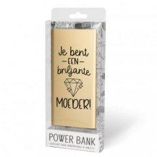 """Gouden powerbank met tekst """"Je bent een briljante moeder''"""