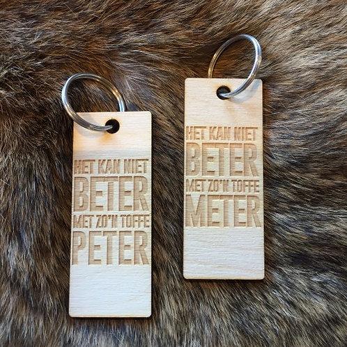 Houten sleutelhanger Meter/Peter