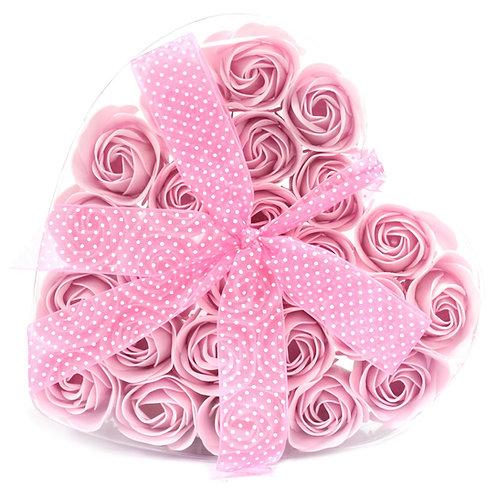 24 zeep-roosjes in een hartje