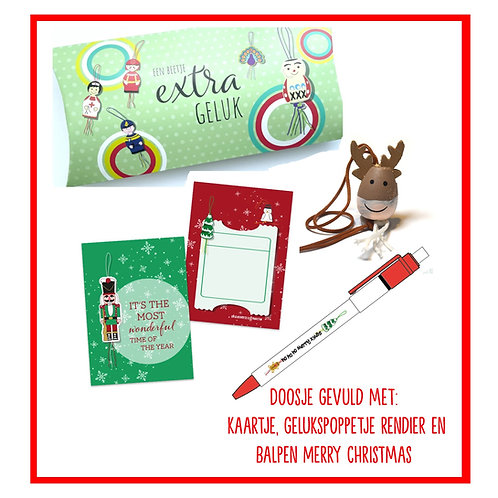 Doosje kerst met balpen, gelukspoppetje rendier en kaartje