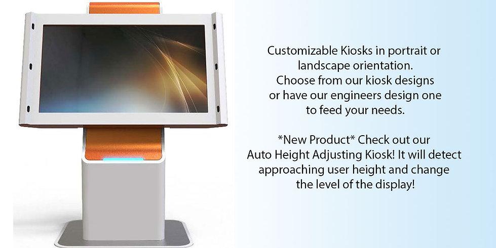 Auto height adjustable kiosk
