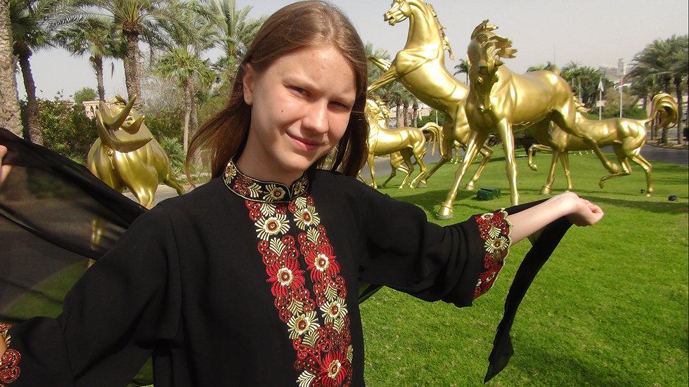 Walk in Arabic dress Abaya
