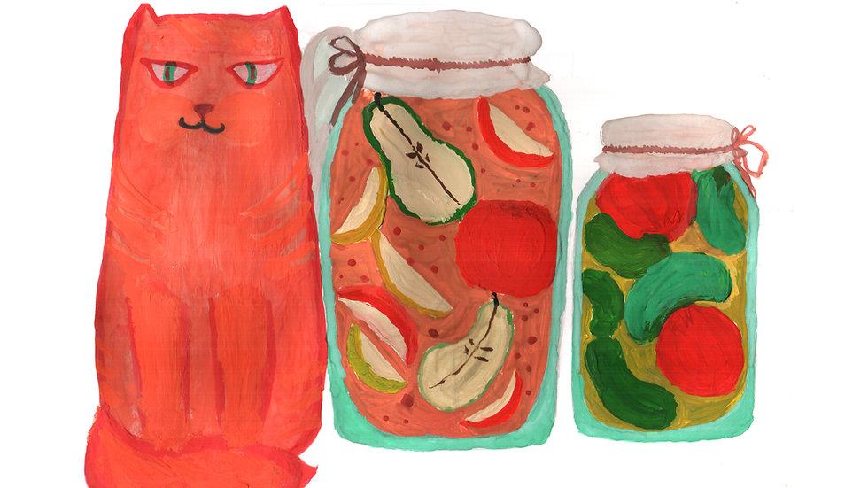 Cat with jars image 3504x2471px/300dpi