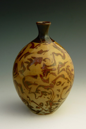 """Celadon on Porcelain, w/Iron Brushing,  Reduction-fired to Cone 10 - 6 ½"""""""