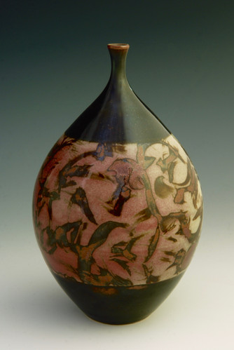 """Celadon on Porcelain, w/Iron Brushing,  Reduction-fired to Cone 10 - 7 ½"""""""