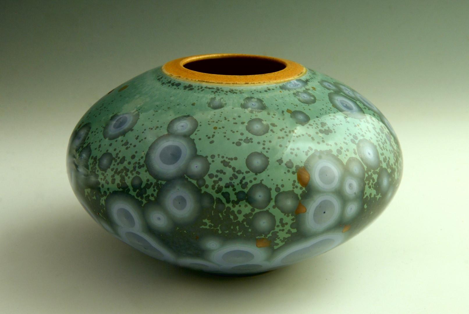 """Blue Oval Pot w/Orange Rim - 3 ½"""" x 5 ¾"""""""