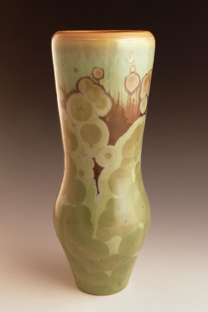 "Green Vase w/Orange Rim - 10"""