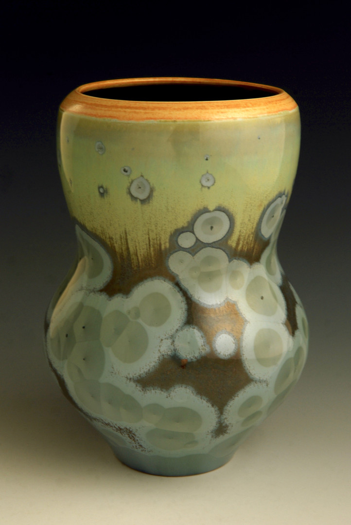 "Blue/Green Vase w/Orange Rim - 7 ¼"""