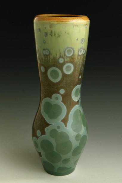 "Blue/Green Vase w/Orange Rim - 11"""