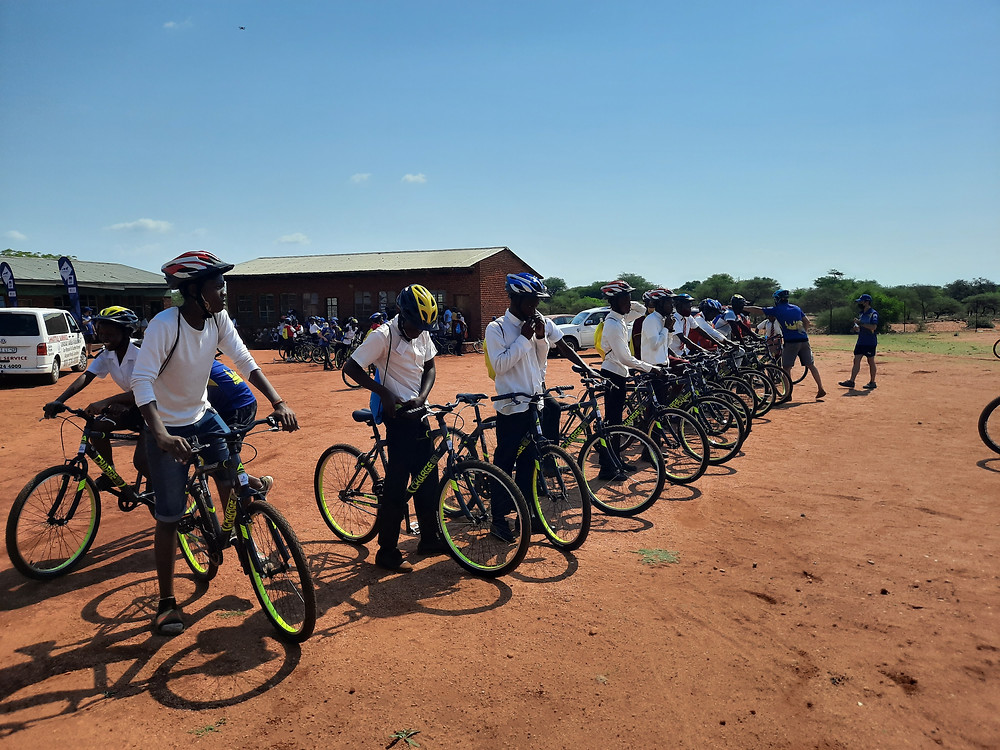 Students receiving their bicycles