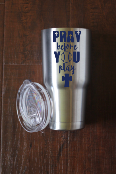 Pray Before You Play Baseball Decal