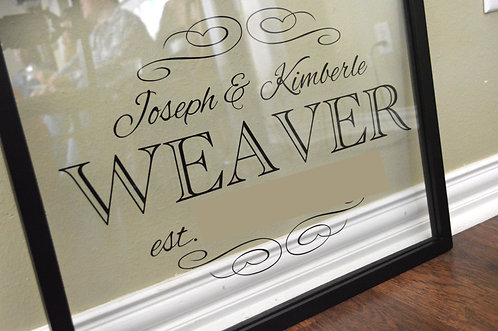 Personalized Family Name Sign, Single Color, 16X20