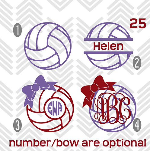 Volleyball Monogram Decal
