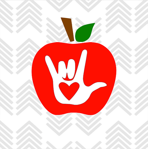 "Sign Language ""I love you"" Apple Decal"