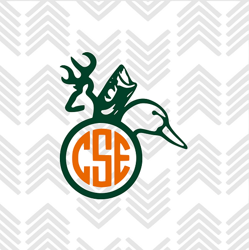 Buck Fish Duck Monogram Decal