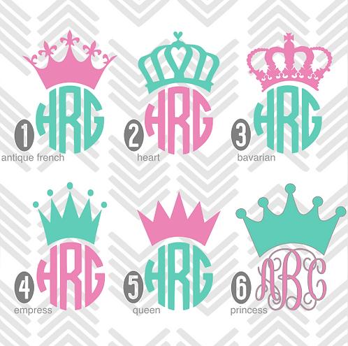 Crown Monogram Decal