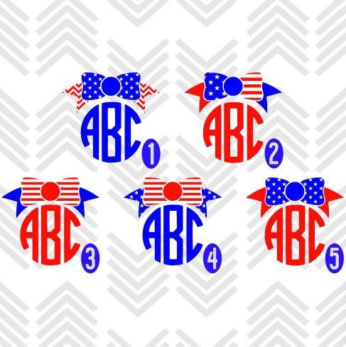 American Flag Bow Monogram Decal