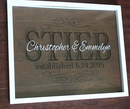 Personalized Family Name Sign, Dual Color, 16X20