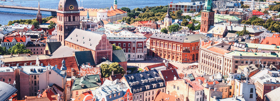 Aerial view of Riga center from St. Pete