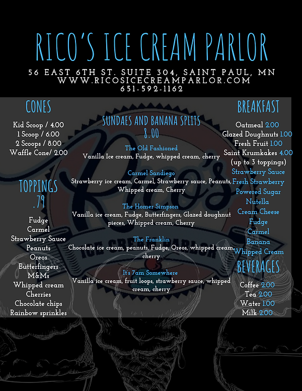 Rico's Ice Cream & Breakfast Menu