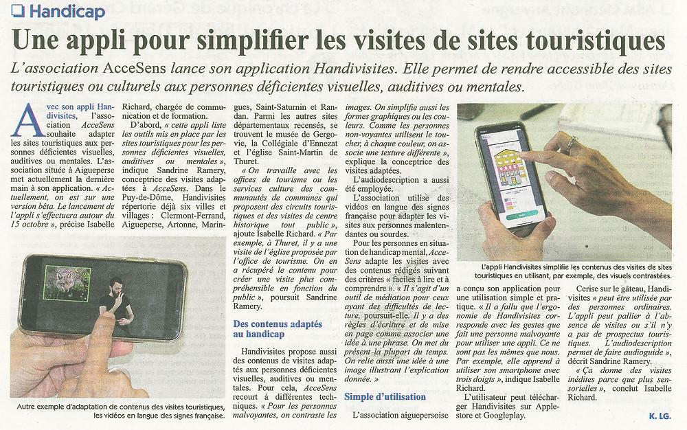 Article du Semeur Hebdo sur Handivisites au format image