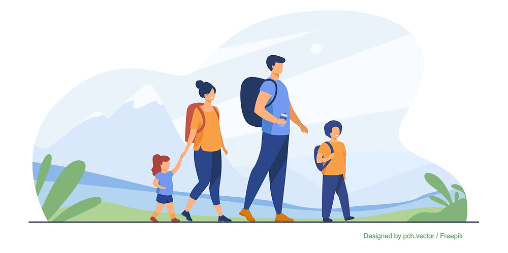 Illustration d'une famille en promenade à la montagne au bord d'une rivière