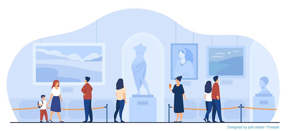 Illustration de visiteurs dans un musée