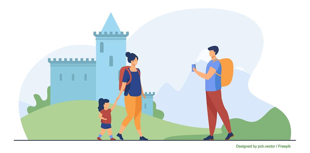 Illustration d'une famille visitant un château