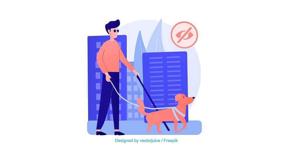 Illustration d'un homme aveugle avec son chien guide en balade dans la rue d'une ville