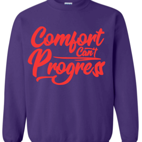 Purple Comfort Can't Progress Sweatshirt