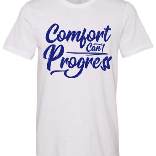 White & Royal Blue Comfort Can't Progress T-shirt